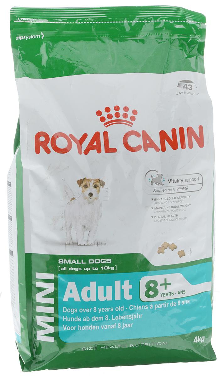 Корм сухой Royal Canin Mini Adult 8+, для собак весом до 10 кг старше 8 лет, 4 кг0120710Сухой корм Royal Canin Mini Adult 8+ является полнорационным кормом для стареющих собак (в возрасте 8 лет и старше) мелких размеров.Особенности корма Royal Canin Mini Adult 8+: обеспечивает поддержание оптимального веса; питает шерсть собаки; способствует прекрасному аппетиту; помогает сократить отложение зубного камня.Состав: кукуруза, рис, дегидратированное мясо птицы, животные жиры, кукурузная клейковина, кукурузная мука, гидролизат белков животного происхождения, изолят растительных белков, свекольный жом, минеральные вещества, дрожжи, соевое масло, рыбий жир, фруктоолигосахариды.Пищевые добавки на 1 кг: витамин А 22200 МЕ, витамин D3 1000 МЕ, железо 47 мг, йод 4,7 мг, марганец 60 мг, цинк 181 мг, селен 0,08 мг, L-карнитин 50 мг, триполифосфат натрия 3,5 г, консервант, антиокислители.Питательные вещества: белки 27%, жиры 16%, минеральные вещества 4,7%, клетчатка 1,5%, медь 15 мг/кг.Товар сертифицирован.