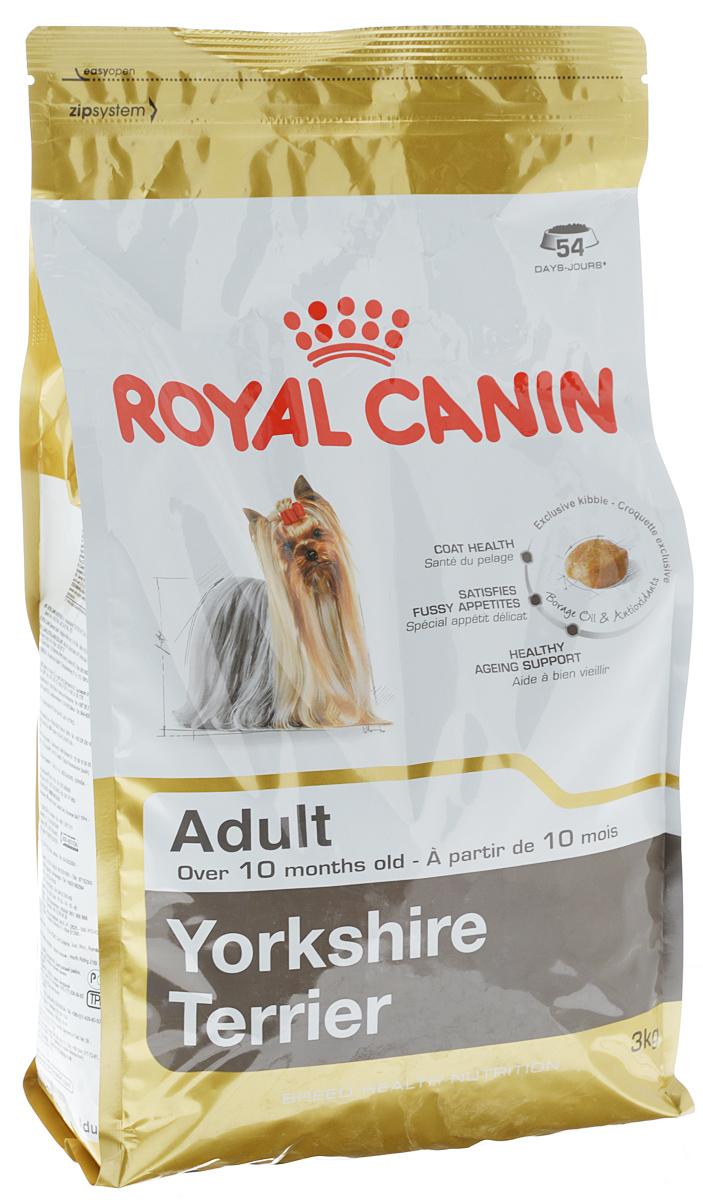 Корм сухой Royal Canin Yorkshire Terrier Adult, для собак породы йоркширский терьер в возрасте от 10 месяцев, 3 кг0120710Royal Canin Yorkshire Terrier Adult - полнорационный сухой корм для собак породы йоркширский терьер в возрасте от 10 месяцев.Йоркширский терьер - это сказочное создание, которое очаровывает с первой минуты знакомства с ним. Тоненькие, хрупкие и изящные йорки в силу своей физиологии нуждаются в максимальном поступлении в организм аминокислот, необходимых для развития шерсти и ее быстрого роста. Многие корма для йорков имеют крокеты слишком крупного размера, тогда как продукция Royal Canin Yorkshire Terrier Adult разработана специально для небольших челюстей этих собак. Здоровая шерсть.Эта эксклюзивная формула поддерживает здоровье и красоту шерсти йоркширского терьера. Корм обогащен жирными кислотами Омега-3 (EPA и DHA) и Омега-6, маслом бурачника и биотином. Вкусовая привлекательность.Благодаря высокой вкусовой привлекательности корм способен удовлетворить потребностидаже самых привередливых питомцев. Долголетие.Особый комплекс с питательными веществами помогает сохранить здоровье собаки в зрелом возрасте и способствует долголетию.Профилактика образования зубного камня. Благодаря хелаторам кальция и специально подобранной текстуре крокет, которая оказывает чистящее воздействие, корм помогает ограничить образование зубного камня. Состав: дегидратированные белки животного происхождения (птица), рис, кукурузная мука, животные жиры, кукуруза, кукурузная клейковина, изолят растительных белков, свекольный жом, гидролизат белков животного происхождения, минеральные вещества, соевое масло, рыбий жир, дрожжи, фруктоолигосахариды, гидролизат дрожжей (источник мaннановых олигосахаридов), масло огуречника аптечного (0,1 %), экстаркты зеленого чая и винограда, гидролизат из панциря ракообразных, экстракт бархатцев прямостоячих (источник лютеина).Добавки (в 1 кг): витамин A: 29500 МЕ, витамин D3: 800 МЕ, Биотин: 3,07 мг, железо: 47 мг, йод:4,7 мг, марганец: 61 