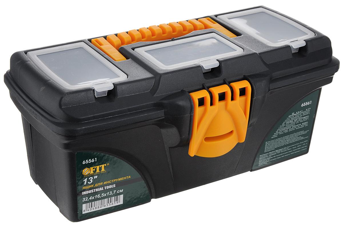 Ящик для инструментов FIT, пластиковый, 32,4 х 16,5 х 13,7 см65561Пластиковый ящик для инструментов FIT предназначен для хранения и транспортировки инструментов. Подвижный лоток и три органайзера на крышке позволяют разместить необходимые инструменты и аксессуары. Две пластиковые защелки надежно защищают ящик от непреднамеренного открывания. Такой ящик пригодится как профессионалу, так и домашнему мастеру: он позволяет держать инструменты и крепежные детали в одном месте и обеспечивает их сохранность.Размер ящика: 32,4 х 16,5 х 13,7 см.Размер подвижного лотка: 31,5 х 13,5 х 4 см.