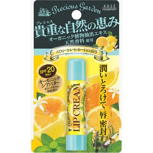 Кose Бальзам для губ Сочный цитрус с органическими экстрактами растений Cosmeport Precious GardenFS-00897Бальзам для губ с органическими растительными ингредиентами. Сладкий аромат лимона и меда. Надежно защищает чувствительную кожу губ - летом от ультрафиолетового излучения, зимой от мороза, а весной и осенью от обветривания (SPF20?PA+). Способ применения: Откройте колпачок помады и нанесите на губы тонким слоем.Меры предосторожности: Храните в месте недоступном для детей.Плотно закрывайте крышку после использования.Хранить в сухом прохладном месте.