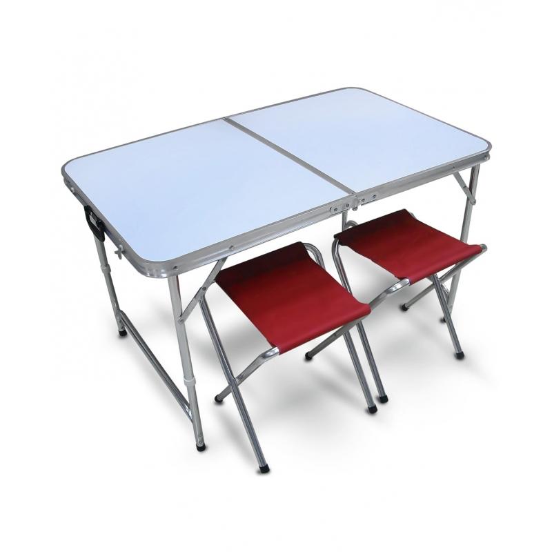 Набор мебели для пикника Reka, цвет: бордовый, белыйPT-019Набор мебели для пикника Reka легкий и очень удобный для похода, кемпинга и дачи.В наборе стол и 2 стула. Стол в собранном виде имеет форму чемодана, стулья складываются и убираются во внутрь стола. Для удобства при транспортировки есть удобная ручка. Стол легко моется и быстро собирается.Размер стола: 100 x 60 x 46/62 см.Размер стульев: 34 x 31 x 42 см.Размер комплекта в собранном виде: 50 x 60 см.Материал: МДФ, алюминий 19 мм., 600D полиэстер.