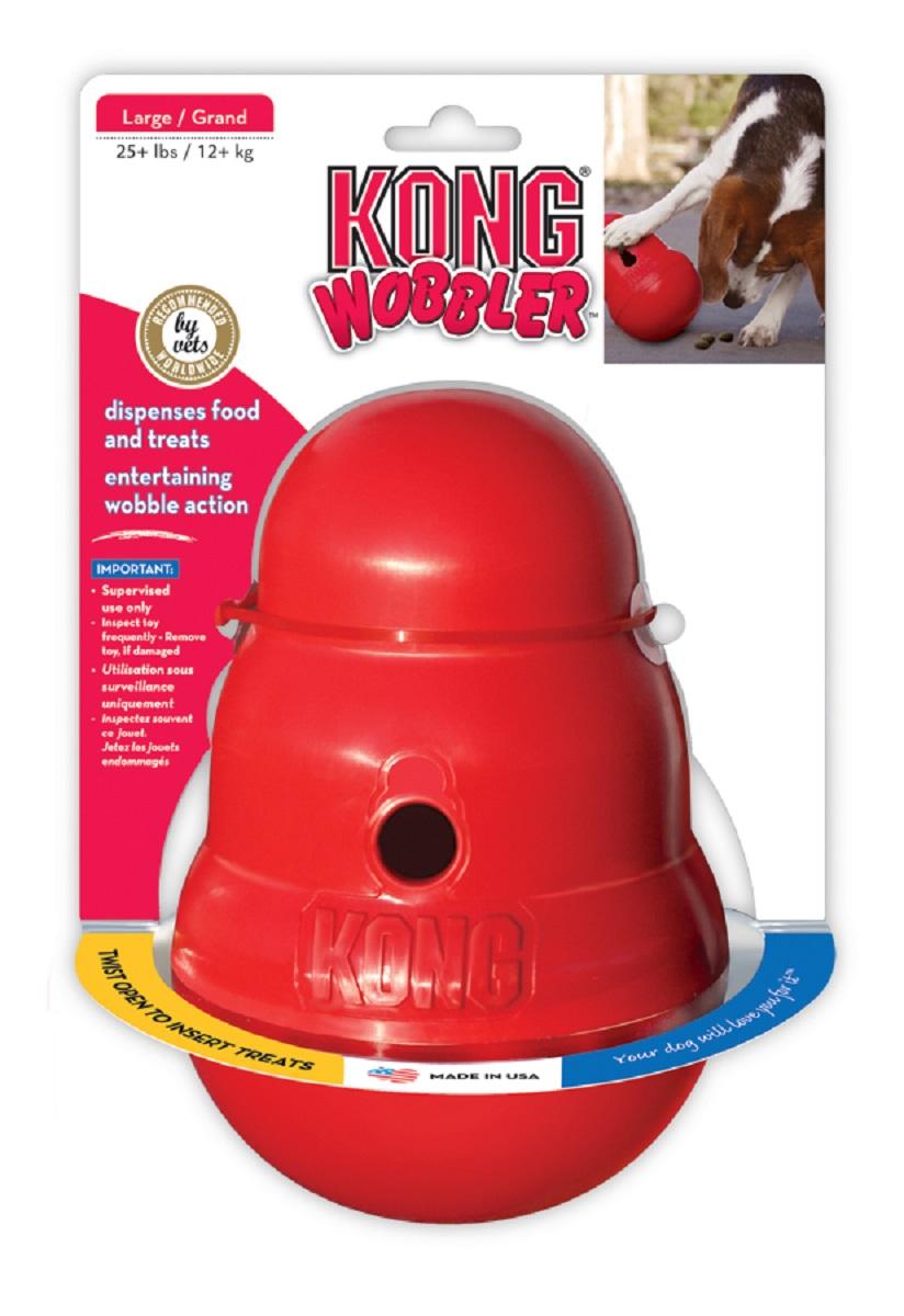 Игрушка для крупных собак Kong Wobbler, интерактивная, 13 х 13 х 19,5 см0120710Kong Wobbler - это интерактивная игрушка для собак с функцией дозировки еды. Изделие выполнено из высококачественного каучука. Игрушка стоит вертикально, пока собака не толкнет ее носом или лапой. Лакомства или корм выпадают по мере того как игрушка катится и вращается.Благодаря непредсказуемости движения, игрушка остается занимательной даже для собак, давно к ней привыкших. Вы можете использовать ее как альтернативу обычной миске, так как она помогает продлить время кормления, тем самым предотвращая переедание и набор лишнего веса. Поддержание активности и хорошей физической формы важно для профилактики заболеваний сердечно-сосудистой и опорно-двигательной системы.