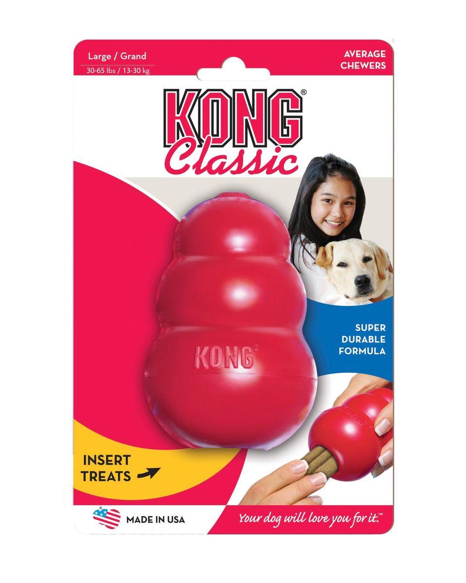 Игрушка для собак Kong Classic, большая, 10 х 6 см0120710Игрушка выполненная из каучука предназначена для собак крупных пород весом 20 -35 кг.Великолепные пружинистые свойства и красная натуральная резина отлично подходят для собак с сильными челюстями.Оригинальная форма игрушки позволяет наполнить ее лакомством, которое собака достает в процессе игры. Ветеринарные врачи и тренеры рекомендуют использование игрушек KONG, наполненных лакомствами, для поддержания хорошего настроения питомца и предотвращения нежелательного поведения.