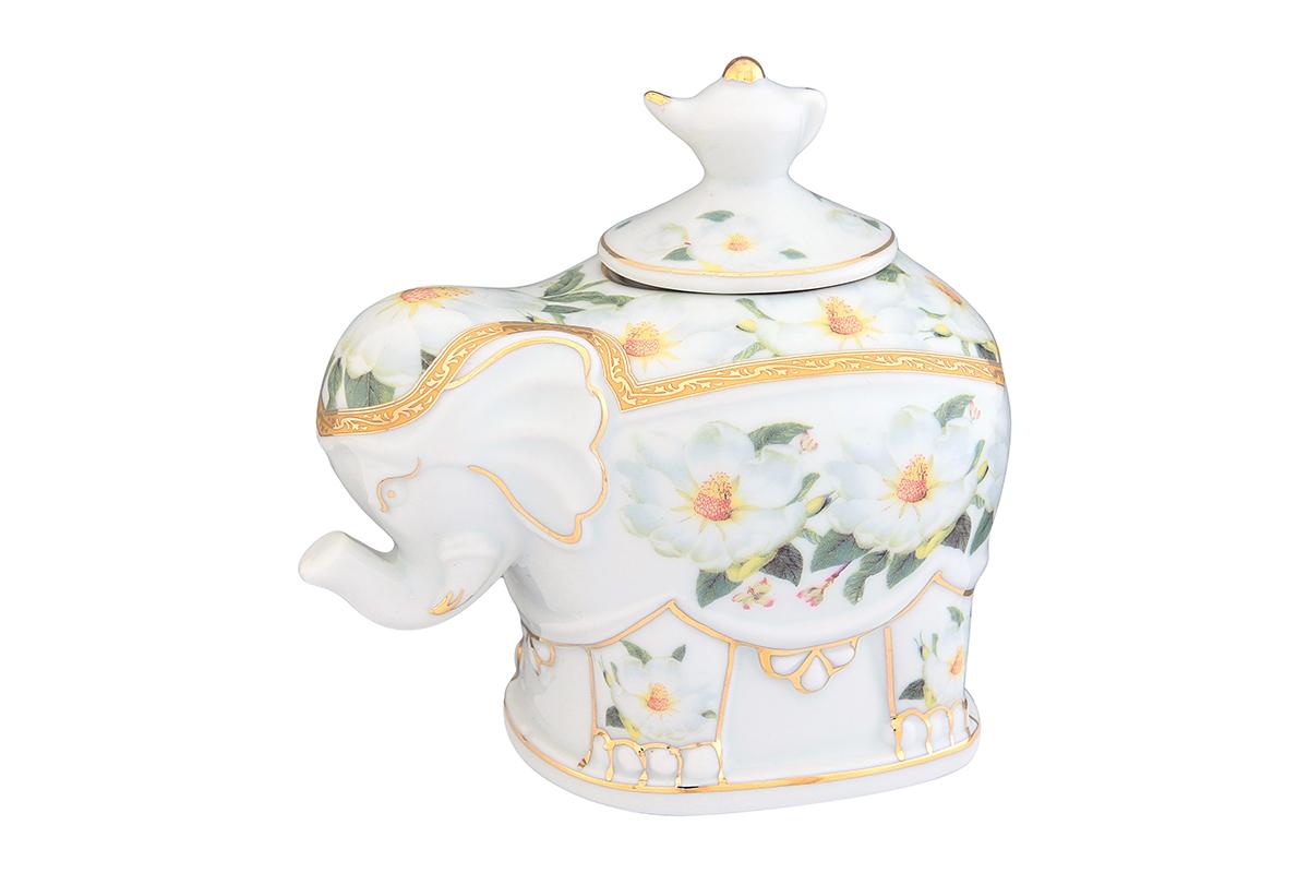 Чайница Elan Gallery Белый шиповник, 350 млVT-1520(SR)Загадочная страна Индия: чай, слоны, солнце, праздник! Чайник, выполненный в форме слона, будет напоминать Вам об Индии и наполнит Ваш дом солнечным настроением. Изделие имеет подарочную упаковку, идеальный подарок для Ваших близких!Размер изделия: 11 х 12 х 10 см.