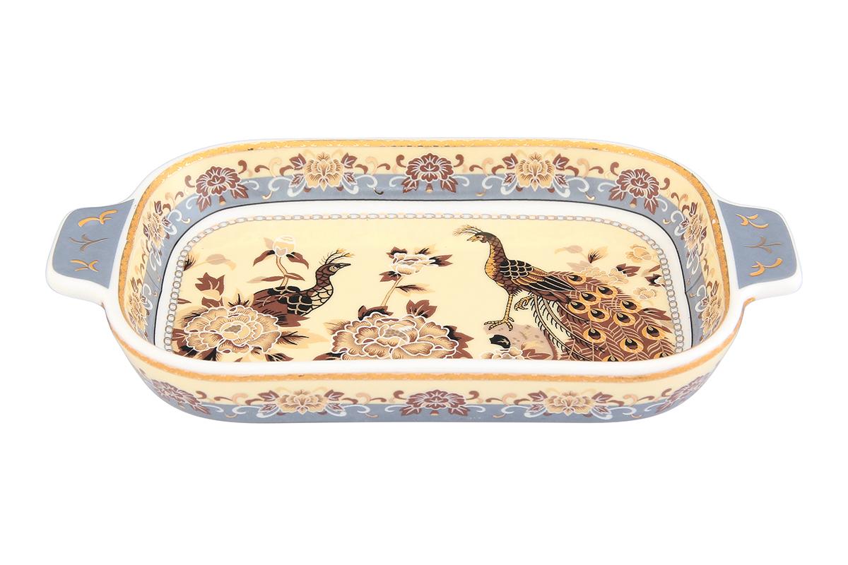 Шпротница Elan Gallery Павлин на бежевом94672Изящная шпротница изготовлена из фарфора. Благодаря прекрасному дизайну, шпротница станет отличным дополнением к Вашему кухонному инвентарю.Размер блюда: 18 х 10 х 2,5 см.