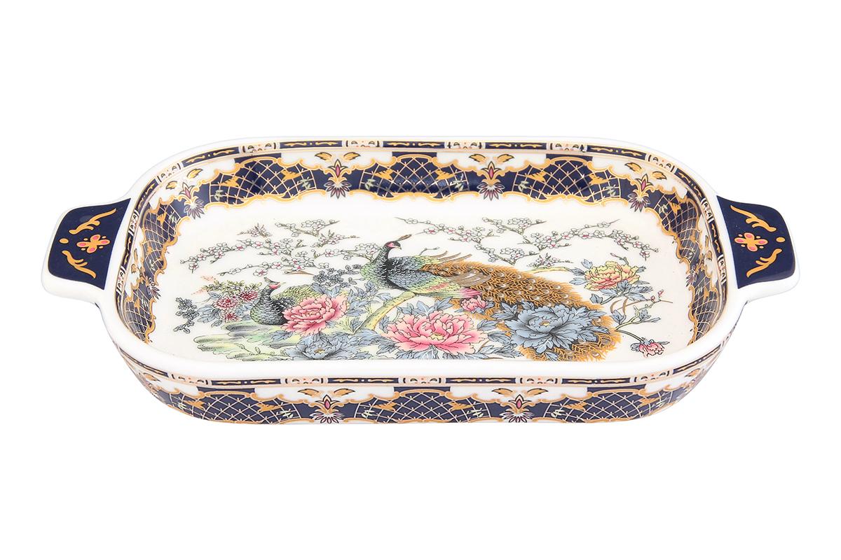 Шпротница Elan Gallery Павлин, цвет: золотой, 18 х 10,5 х 2,5 см115510Изящная шпротница изготовлена из фарфора. Благодаря прекрасному дизайну шпротница станет отличным дополнением к вашему кухонному инвентарю.Размер: 18 х 10,5 х 2,5 см.