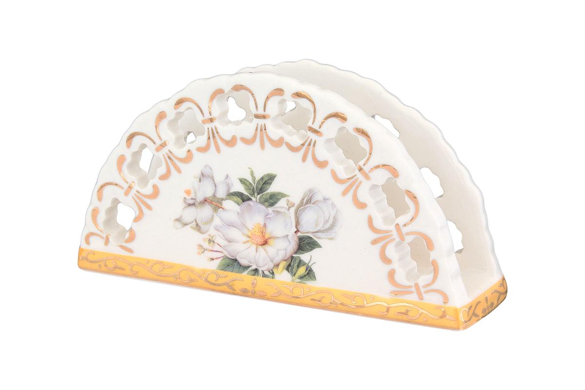 Салфетница Elan Gallery Белый шиповник, 13,5 х 4,5 х 7,5 см662061Салфетница Elan Gallery Белый шиповник изготовлена из высококачественной керамики и оформлена оригинальным рисунком. Она сочетает в себе изысканный дизайн с максимальной функциональностью. Компактная и в то же время вместительная салфетница станет не только украшением любого стола, но и отличным подарком.