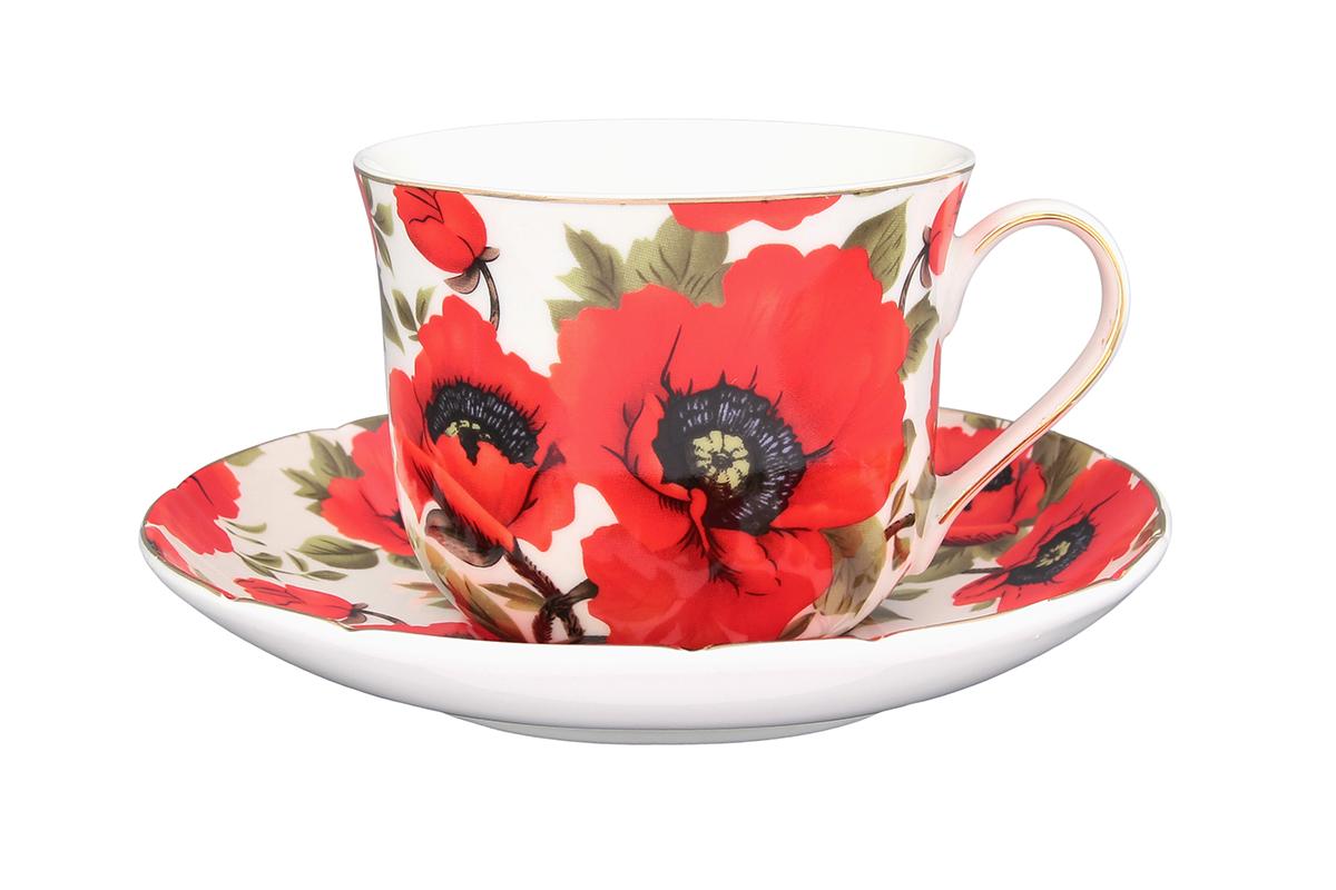 Чайная пара Elan Gallery Маки, 2 предмета730534Чайный набор - это отличный подарок, подходящий для любого повода. Принесет в Ваш дом красоту и уют душевных чаепитий! В комплекте чашка объемом 400 мл и блюдце.
