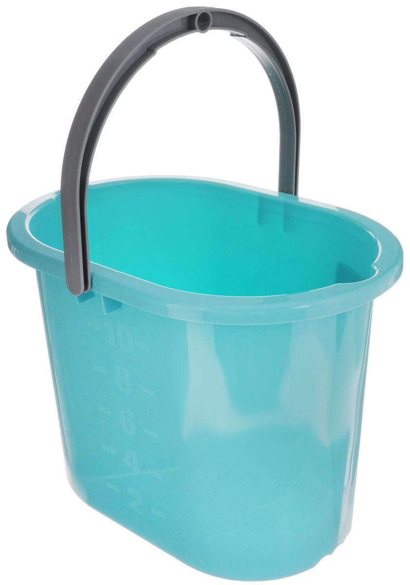 Ведро для мытья полов Hausmann, цвет: бирюзовый, 10 л790009Ведро Hausmann, изготовленное из прочного цветного пластика, порадует практичных хозяек. Оно легче железного и не подвергается коррозии. Для удобного использования ведро оснащено эргономичной ручкой.Такое ведро станет незаменимым помощником в хозяйстве. Размер (по верхнему краю): 34 х 24 см.Высота (без учета ручки): 27 см.