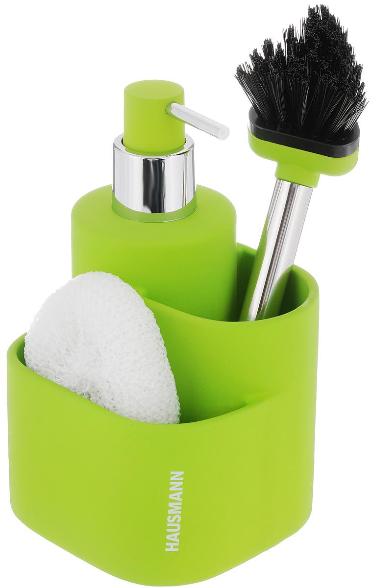 Дозатор для моющего средства Hausmann, с губкой, с щеткой, цвет: салатовый, 350 мл68/2/3Дозатор Hausmann, изготовленный из высококачественной керамики, очень удобен и прост в использовании: просто нажмите на него и выдавите необходимое количество средства. Дозатор подходит для жидкого мыла, моющего средства для мытья посуды, различных лосьонов. В комплекте поставляется губка и щетка. Такой дозатор стильно дополнит интерьер кухни или ванной комнаты и станет замечательным приобретением для любой хозяйки. Позволяет экономно расходовать мыло. Размер дозатора (с учетом крышки): 11,3 х 10,5 х 18 см.Размер губки: 9 х 8 х 3 см.Длина щетки: 21 см.Длина ворса щетки: 3 см.
