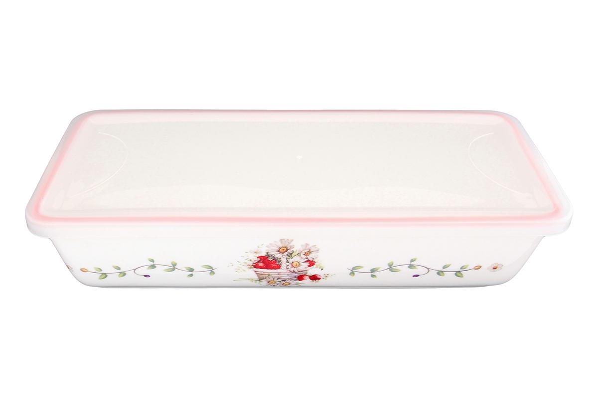 Блюдо для холодца Elan Gallery Ромашки, прямоугольное, с крышкой, 28 х 13 х 6,5 см115510Сервировочное блюдо Elan Gallery Ромашки, изготовленное из высококачественной керамики, прекрасно подойдет для заливного или холодца и для хранения слоеных салатов. Пластиковая крышка, входящая в комплект, сохранит свежесть вашего блюда. Такое блюдо украсит сервировку вашего стола и подчеркнет прекрасный вкус хозяйки.Объем блюда: 1 л.
