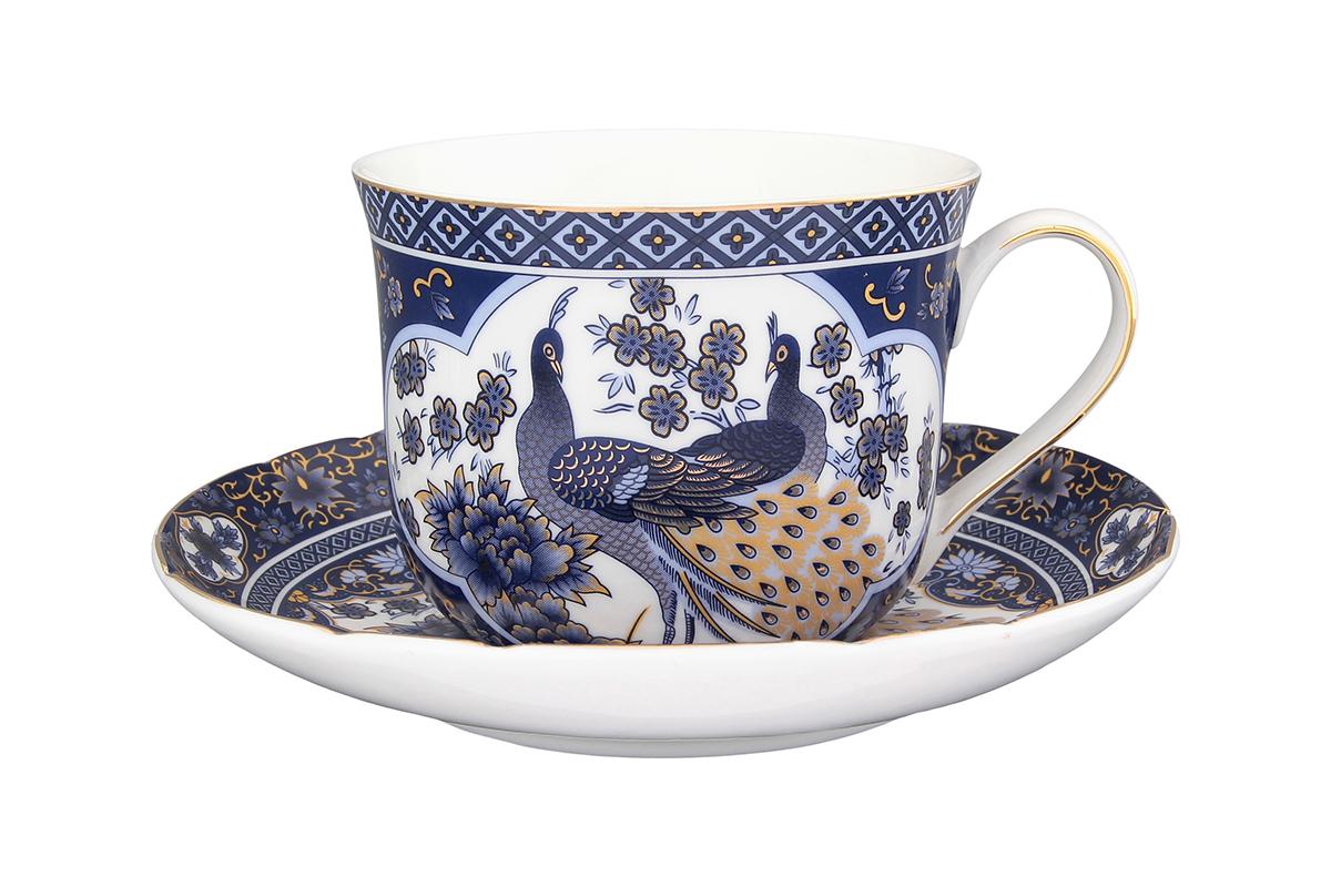 Чайная пара Elan Gallery Павлин синий, 2 предмета54 009312Чайная пара Elan Gallery Павлин синий состоит из чашки и блюдца, изготовленных из керамики высшего качества. Яркий дизайн, несомненно, придется вам по вкусу.Чайная пара Elan Gallery Павлин синий украсит ваш кухонный стол, а также станет замечательным подарком к любому празднику.Не рекомендуется применять абразивные моющие средства. Не использовать в микроволновой печи.Объем чашки: 400 мл.