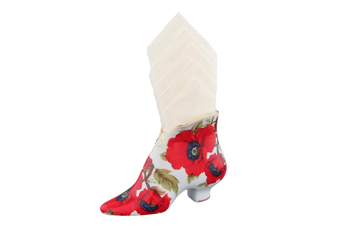 Салфетница-туфелька Elan Gallery Маки, 15 х 6,5 х 11 см115510Салфетница - это важная деталь праздничной сервировки. Для хозяек, находящих радость в мелочах, так украшающих интерьер. Размер 13,5х4,5х7,5 см.