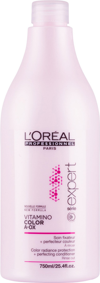 LOreal Professionnel Смываемый уход-фиксатор цвета Expert. Vitamino Color AOX, 750 млFS-00897Уход-фиксатор от LOreal Professionnel Expert. Vitamino Color AOX закрепляет цвет изнутри волос, интенсивно питает их. Средство обогащено керамидами, витаминами и микроэлементами. Фиксатор цвета не только сохраняет цвет ваших волос, но и обеспечивает волосам ухоженный вид, придаёт блеск, делает их мягкими и эластичными, облегчает расчёсывание. Система Hydro-resist, лежащая в основе средства, препятствует вымыванию цвета водой, в то время как молекула Incell делает волосы сильными, густыми за счёт того, что укрепляет клеточную структуру волос. Результат – сильные, красивые и здоровые волосы, сохраняющие насыщенный и яркий цвет в течение долгого времени.Товар сертифицирован.