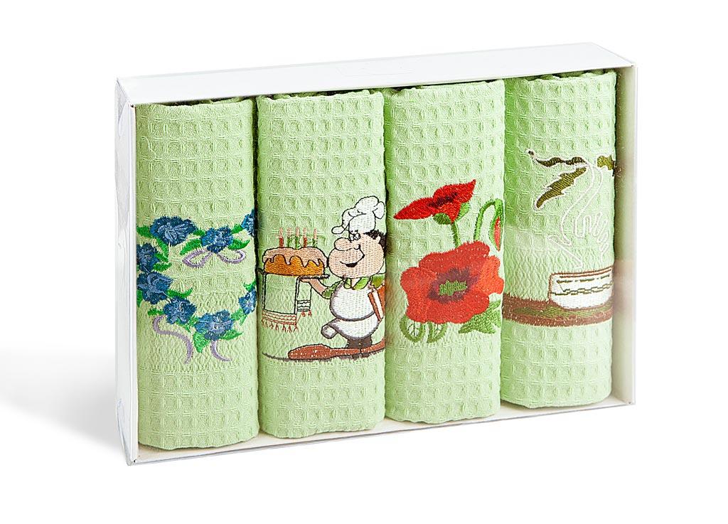 Набор кухонных полотенец Soavita, цвет: светло-зеленый, 40 х 60 см, 4 шт. 40050684005068Набор Soavita состоит из 4 вафельных полотенец. Изделия выполнены из высококачественного 100% хлопка и оформлены яркими вышивками. Полотенца используются для протирки различных поверхностей, также широко применяются в быту.Такой набор станет отличным вариантом для практичной и современной хозяйки.