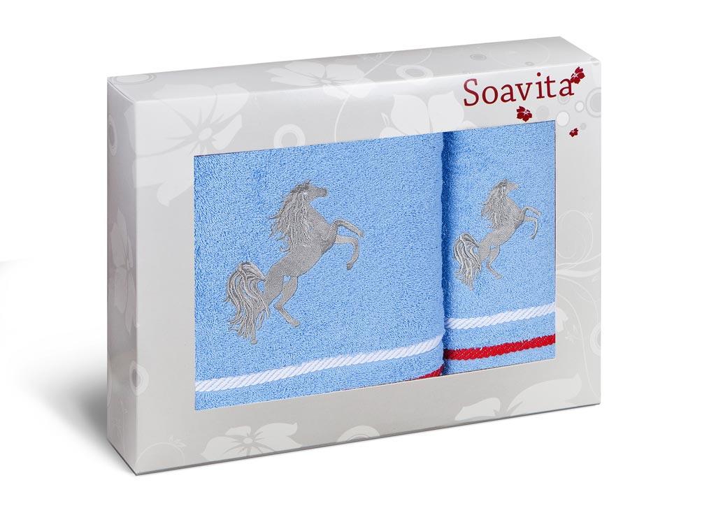 Комплект махровых полотенец Soavita Лошадка, цвет: голубой, 2 шт531-105Комплект полотенец сделан из жаккарда - самой красивой ткани из хлопка. Жаккардовая ткань имеет сложную структуру плетения (вертикальный и горизонтальный повтор рисунка). Поэтому такие полотенца отличаются высокой плотностью, износостойкостью и при этом необычайной нежностью. Полотенца из жаккарда - это лучший выбор продукции из хлопка!Soavita – это популярный бренд домашнего текстиля. Дизайнерская студия этой фирмы находится во Флоренции, Италия. Производство перенесено в Китай, чтобы сделать продукцию более доступной для покупателей. Таким образом, вы имеете возможность покупать продукцию европейского качества совсем не дорого. Домашний текстиль прослужит вам долго: все детали качественно прошиты, ткани очень плотные, рисунок наносится безопасными для здоровья красителями, не линяет и держится много лет. Все изделия упакованы в подарочные упаковки.