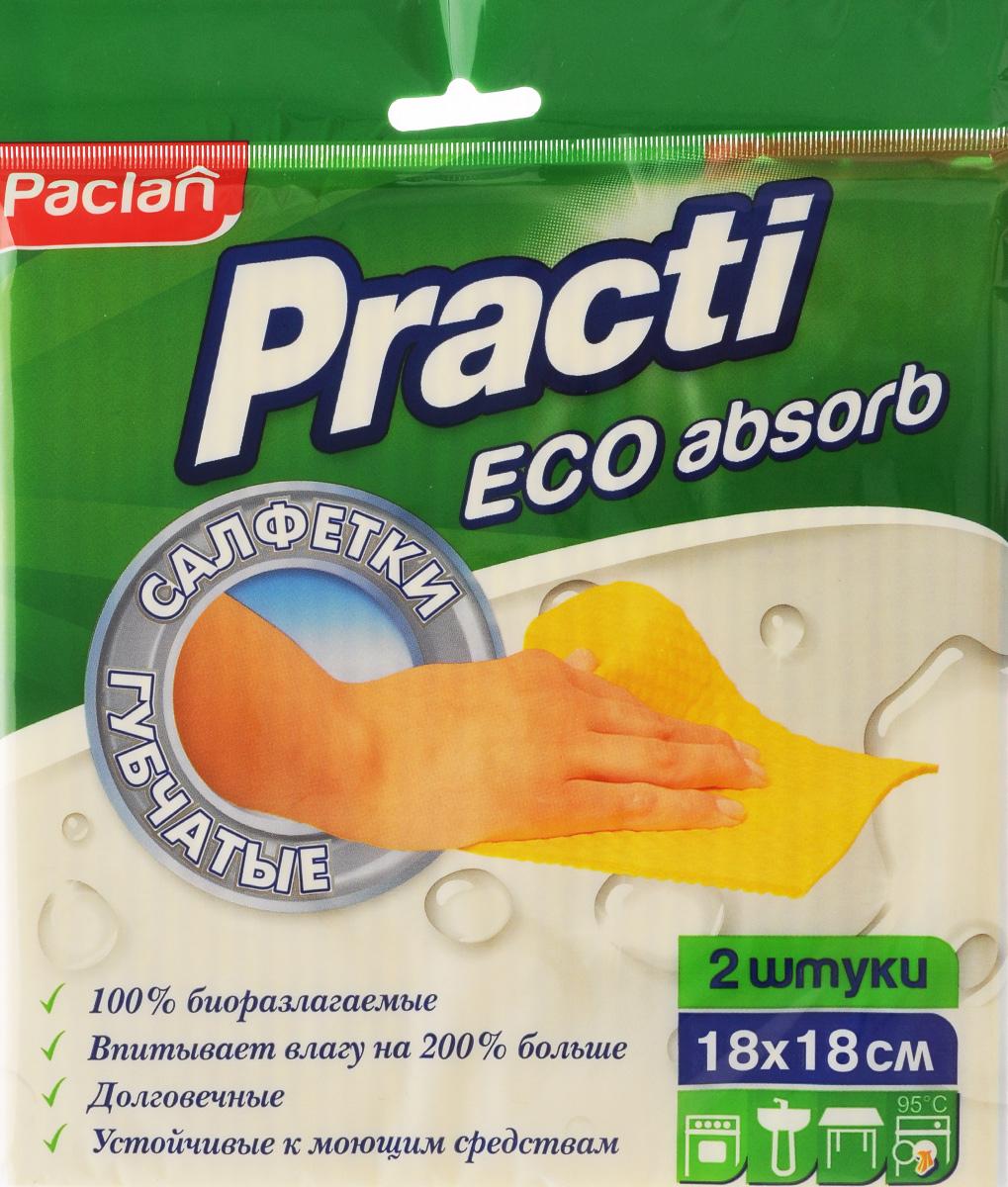 Набор салфеток для уборки Paclan Practi, губчатые, 18 х 18 см, 2 шт531-105Салфетки Paclan Practi, выполненные из хлопка и регенерированной целлюлозы, применяются для влажной уборки кухонных поверхностей, сантехники, плит, мебели. Прекрасно впитывают влагу. Благодаря плотной и упругой структуре губчатые салфетки быстро и эффективно удаляют грязь и жир. После обработки поверхностей не требуется ополаскивание. Салфетки очень удобны в применении, не оставляют разводов и следов.Размер салфетки: 18 Х 18 см.