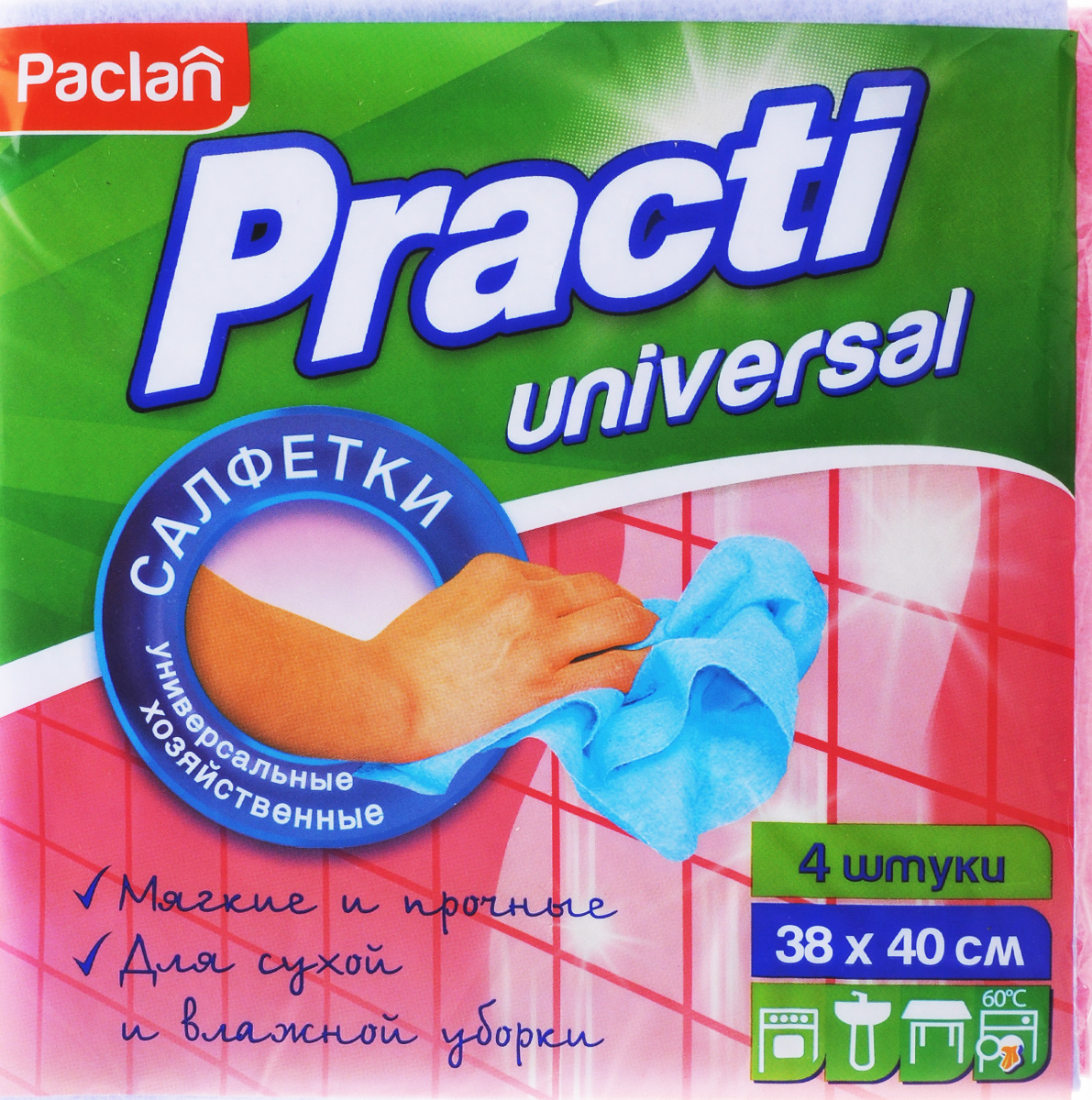 Набор универсальных салфеток для уборки Paclan Practi, 38 х 40 см, 4 шт406-021Набор Paclan Practi, выполненный из нетканого полотна (вискоза, полиэстер), состоит из 4 салфеток. Изделия предназначены для сухой и влажной уборки. Отлично впитывают жидкости, жиры, масла. Пригодны для многоразового использования, долговечны, не оставляют следов и ворсинок. Размер салфетки: 38 х 40 см.