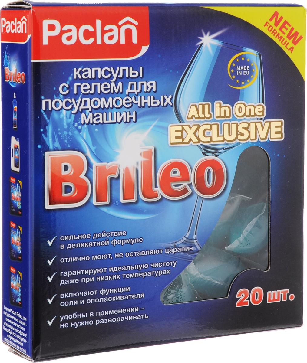 Капсулы с гелем для посудомоечных машин Paclan Brileo. All in One Exclusive, 20 шт3003Paclan Brileo. All in One Exclusive - активные капсулы с гелем для мытья посуды в посудомоечных машинах. Специальная высокоэффективная формула капсул позволяет отмывать самые сильные загрязнения даже при температуре 40 градусов. Идеальное средство для коротких программ посудомоечных машин: гелевая структура мгновенно растворяется в воде и начинает действовать. Благодаря действию энзимов капсулы растворяют жир, белки и крахмал, из которых состоят трудносмываемые, засохшие остатки пищи. Выполняют функцию ополаскивателя, не оставляя следов и разводов на посуде. Капсулы смягчают воду и защищают посудомоечную машину от накипи. Не содержат фосфатов. Водорастворимая упаковка дает возможность избежать контакта кожи рук с химическими элементами геля.Состав: неионные ПАВ, поликарбоксилаты, отдушка, энзимы, консерванты: бензизотиазолинон Товар сертифицирован.