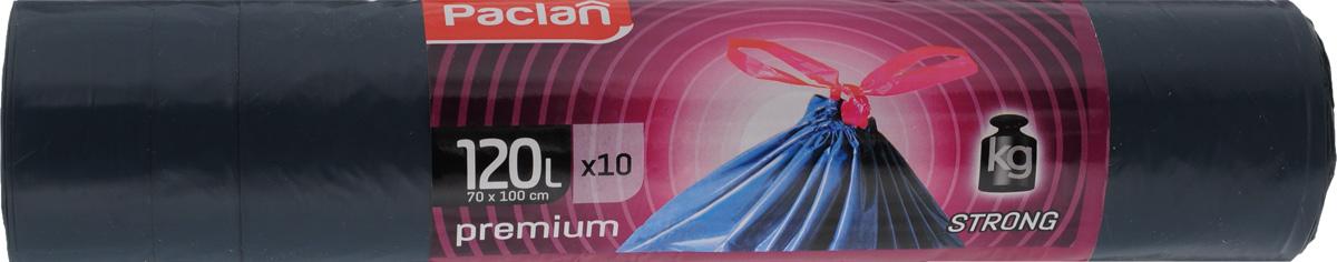 Мешки для мусора Paclan Premium, с завязками, 120 л, 10 шт пакеты для мусора paclan 120 л