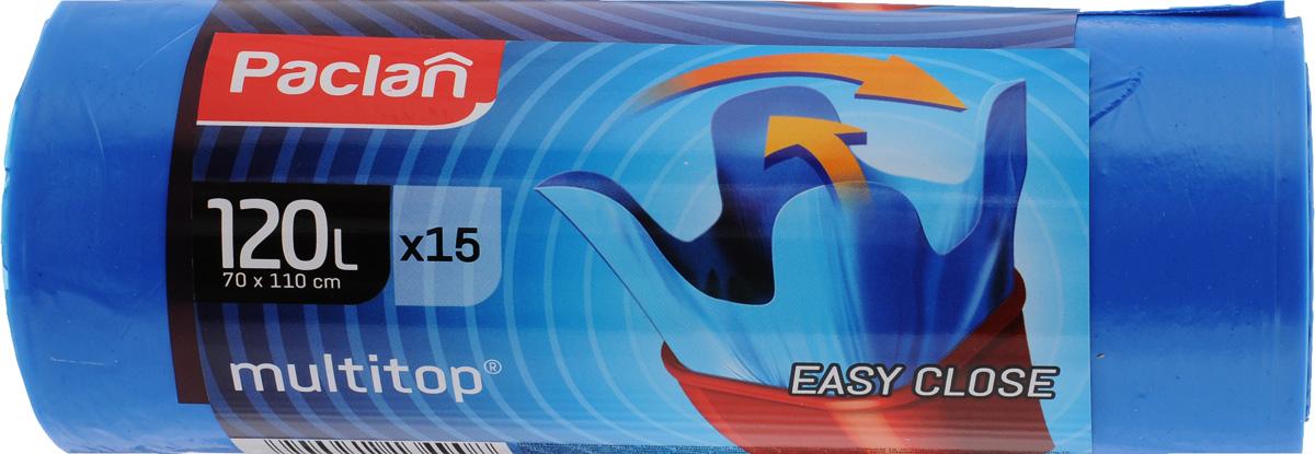 Мешки для мусора Paclan Multitop, 120 л, 15 шт пакеты для мусора paclan 120 л