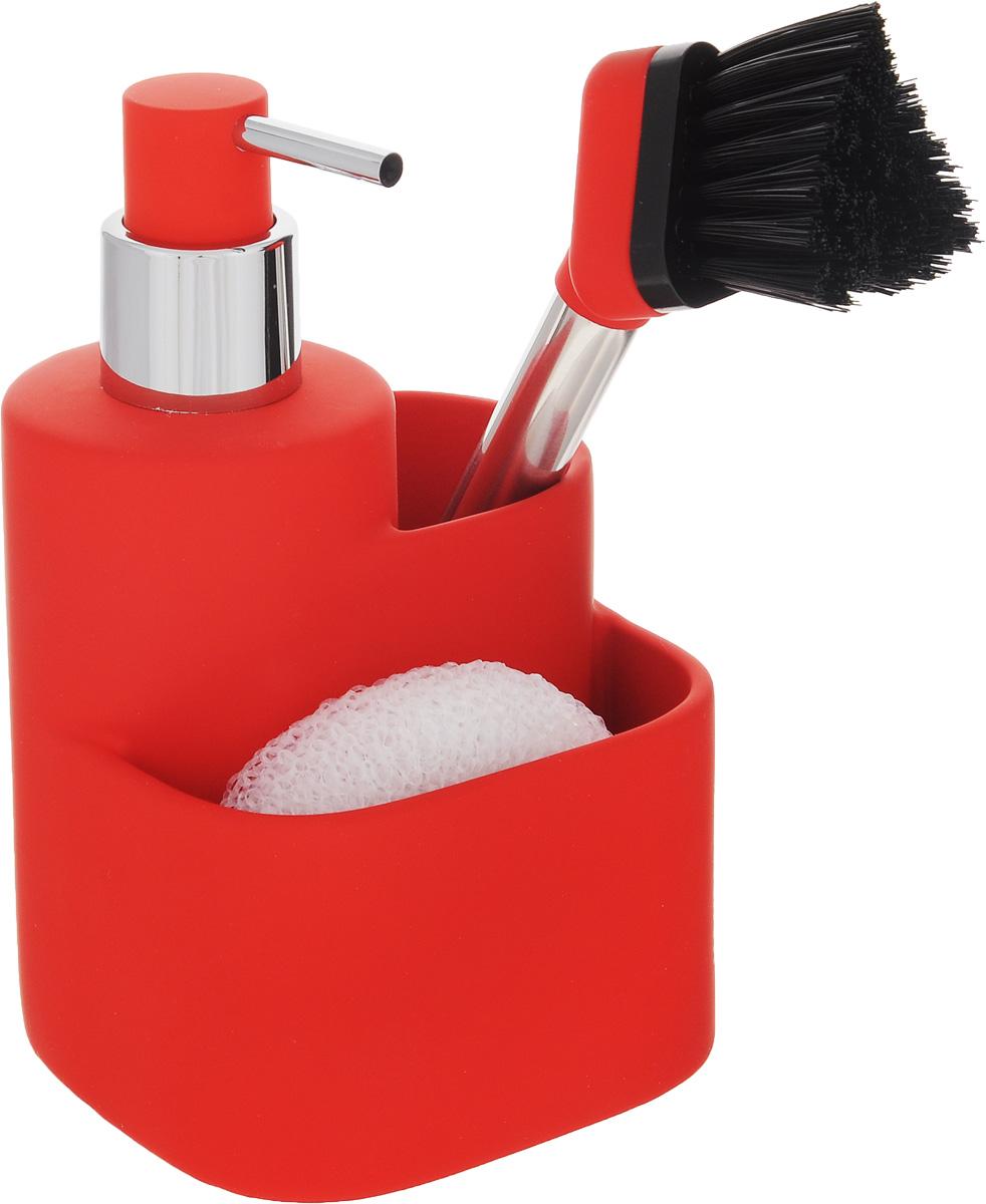 Дозатор для моющего средства Hausmann, с губкой, с щеткой, цвет: красный, 350 мл68/5/3Дозатор Hausmann, изготовленный из высококачественной керамики, очень удобен и прост в использовании: просто нажмите на него и выдавите необходимое количество средства. Дозатор подходит для жидкого мыла, моющего средства для мытья посуды, различных лосьонов. В комплекте поставляется губка и щетка. Такой дозатор стильно дополнит интерьер кухни или ванной комнаты и станет замечательным приобретением для любой хозяйки. Позволяет экономно расходовать мыло. Размер дозатора (с учетом крышки): 11,3 х 10,5 х 18 см.Размер губки: 9 х 8 х 3 см.Длина щетки: 21 см.Длина ворса щетки: 3 см.