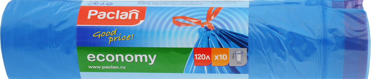 Мешки для мусора Paclan Economy, с завязками, 120 л, 10 шт4606400105459Мешки Paclan Economy, выполненные извысокопрочного и эластичного полиэтилена, обеспечат чистотуи гигиену в квартире.Они удобны для сбора и удаления мусора,занимают мало места, практичны в использовании. Широкоприменяются в быту и на производстве. Благодаря прочнымзавязкам, изделия удобны в переноске и предотвращаютраспространение неприятного запаха.Размер мешка: 70 х 100 см. Комплектация: 10 шт.