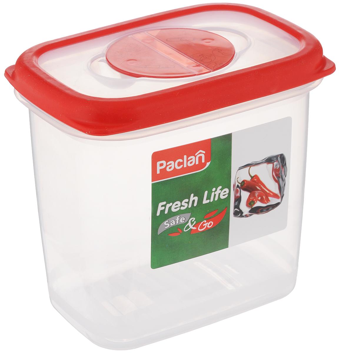 Контейнер для хранения продуктов Paclan Fresh Life, 900 млVT-1520(SR)Герметичный контейнер Paclan Fresh Life, выполненный из полипропилена, предназначен для хранения, заморозки и разогрева в микроволновой печи (при снятой крышке). После использования промыть теплой водой.Можно мыть в посудомоечной машине.Не пригоден для приготовления пищи.Объем: 900 мл.Высота стенок: 12,5 см.Размер (по верхнему краю): 12,5 х 8,5 см.