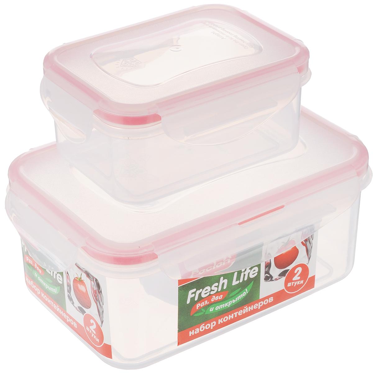 Набор контейнеров для хранения продуктов Paclan Fresh Life, 2 шт21395599Набор контейнеров Paclan Fresh Life, выполненных из полипропилена, предназначен для хранения, заморозки и разогрева в микроволновой печи (при снятой крышке). После использования промыть теплой водой. Можно мыть в посудомоечной машине.Не пригодны для приготовления пищи.Объем контейнеров: 0,4 л и 1 л.Высота стенок большого контейнера: 7 см.Размер большого контейнера (по верхнему краю): 16,5 х 11 см.Высота стенок маленького контейнера: 5 см.Размер маленького контейнера (по верхнему краю): 11,5 х 8,5 см.