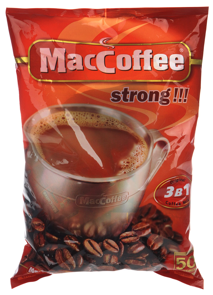 MacCoffee Strong кофейный напиток 3 в 1, 50 шт101246MacCoffee Strong - истинный подарок любителям крепкого кофе со сливками и сахаром. Этот напиток содержит больше кофе, чем MacCoffee 3 в 1 оригинал. Приготовленный из отборных зерен высшего качества, MacCoffee Strong подарит вам наивысшее удовольствие и заряд бодрости на целый день.