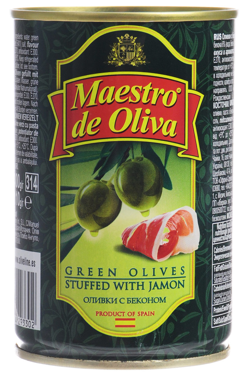 Maestro de Oliva оливки с беконом, 300 г0120710Maestro de Oliva - превосходные оливки с беконом. Оливки и маслины от Maestro de Oliva на протяжении последних лет являются лидером продаж на российском рынке, благодаря широкому ассортименту и неизменно высокому качеству.