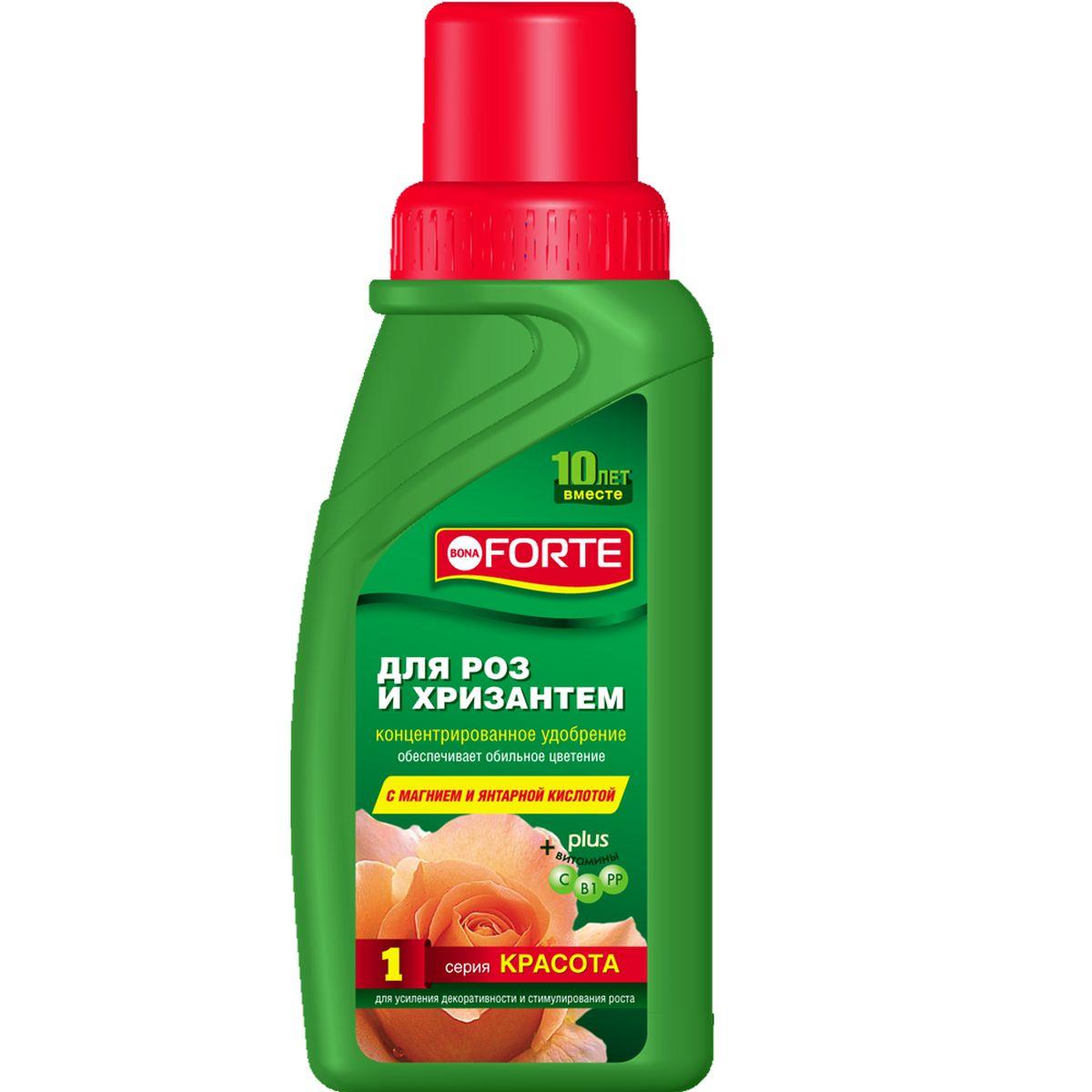 Жидкое комплексное удобрение Bona Forte, для роз и хризантем, 285 млK100Стимулирует повторное цветение и образование новых бутонов, укрепляет иммунитет растений.Состав: Три основных макроэлемента (NPK): азот (N) - 3 %, фосфор (P2O5) - 4 %, калий (K2O) - 8 %;Основной мезоэлемент (Mg): магний(MgO) - 0,6 %Семь микроэлементов: бор, железо, марганец, цинк, медь, молибден, кобальт. Из них шесть микроэлементов в хелатной форме: железо, марганец, цинк, медь, молибден, кобальт. Комплекс витаминов: B1, PP, С. Стимулятор роста: янтарная кислота.