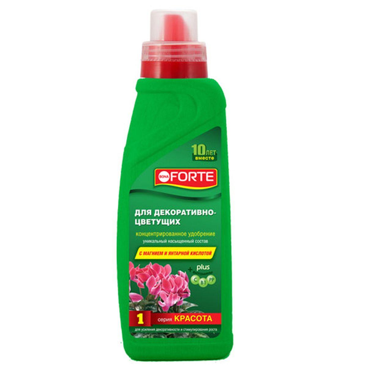 Жидкое комплексное удобрение Bona Forte, для декоративно-цветущих, 750 мл391602Рекомендуется для пышного и обильного цветения, активной бутонизации и укрепления иммунитета растений.Концентрированное удобрение содержит полный комплекс веществ, необходимых для полноценного и сбалансированного питания растений:- высокая доля (15 %) основных элементов (NPK), обеспечивающих усиленное питание для растений; - высокая доля (0,6%) мезоэлемента (Mg), усиливающего процесс фотосинтеза;- комплекс основных микроэлементов в хелатной форме, что способствует полному их усвоению; - комплекс витаминов для поддержания и укрепления иммунной системы растений;- регулятор роста для стимулирования роста растений.