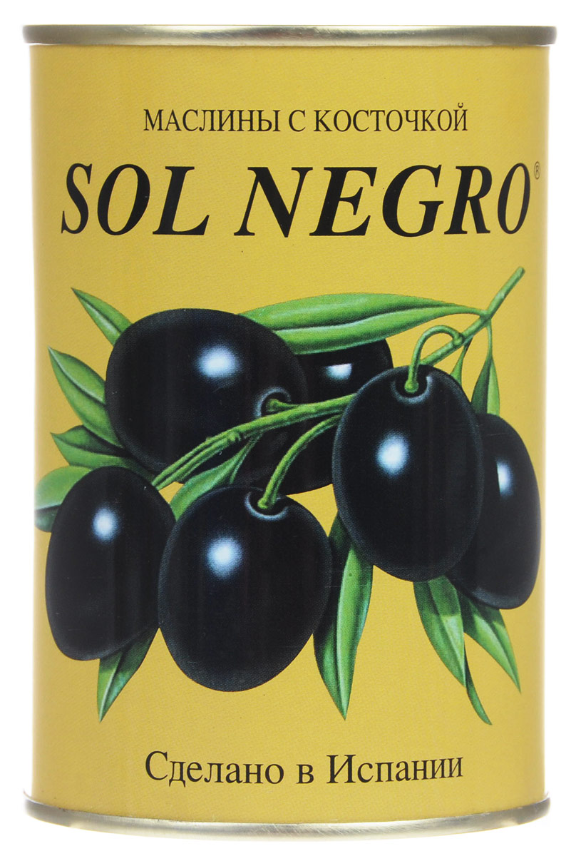 Sol Negro маслины черные с косточкой, 480 г0720001Превосходные черные маслины Sol Negro с косточкой. Оливки и маслины Sol Negro - давно знакомый потребителям бренд, один из лидеров в данной категории продуктов.