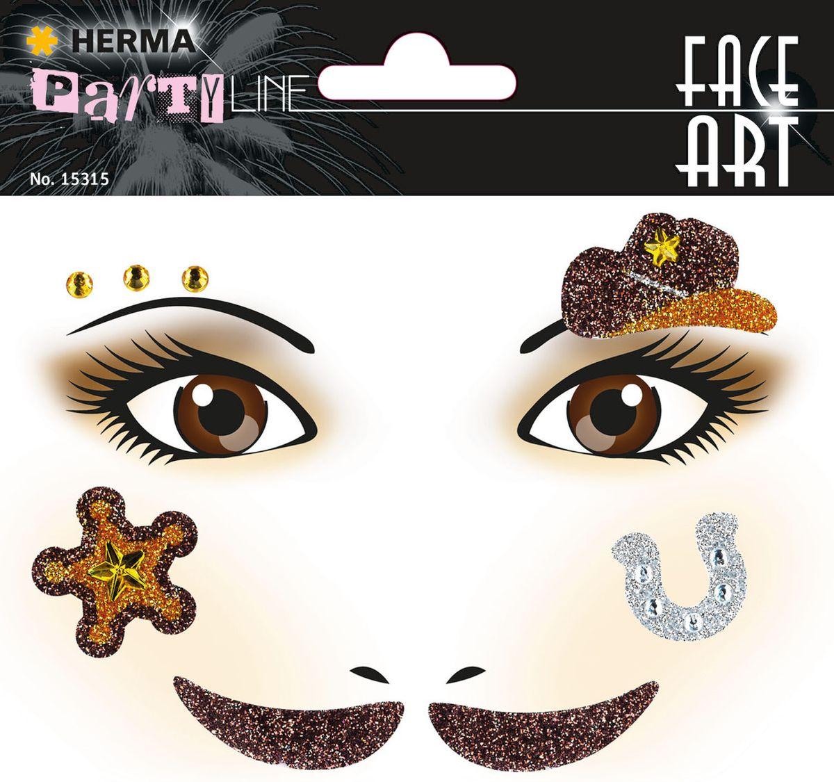 Herma Наклейки на лицо Face Art Ковбой -  Наклейки