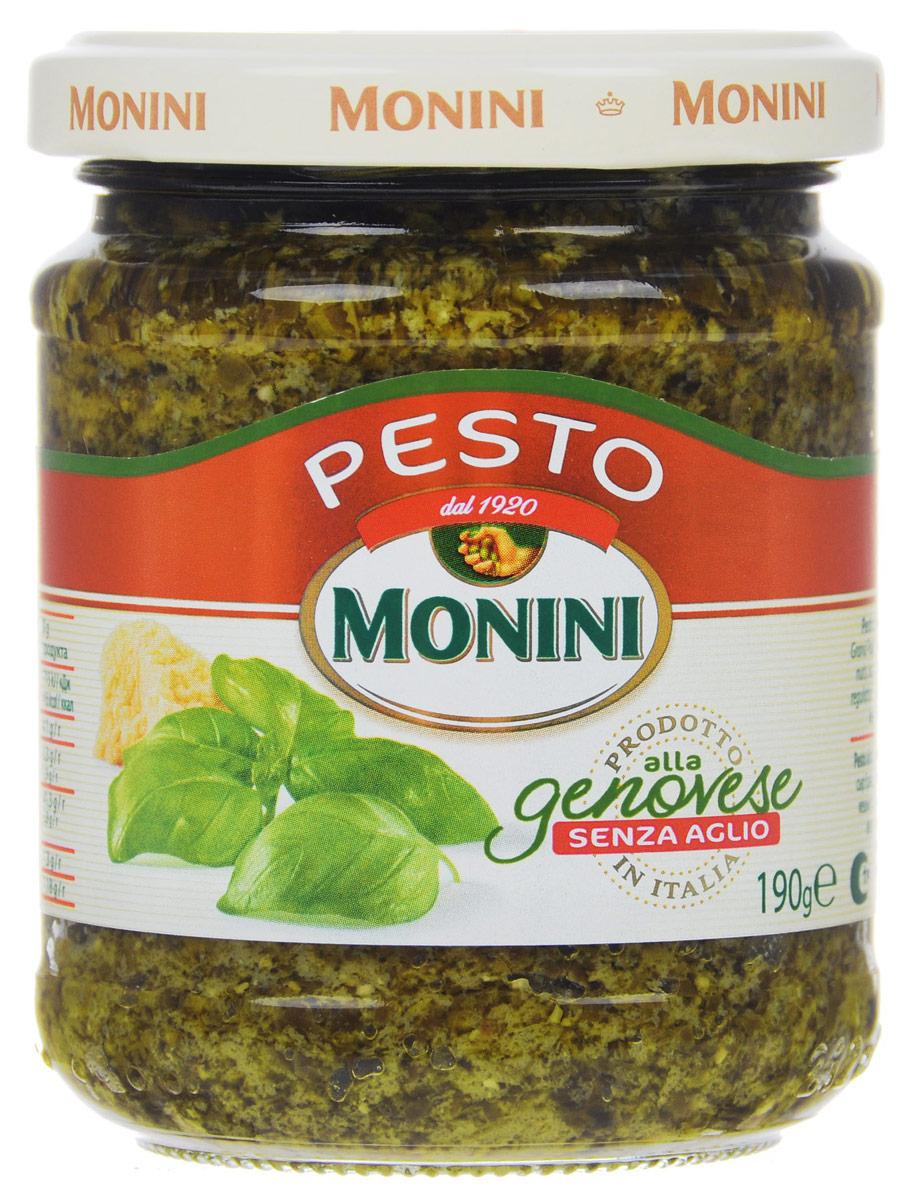 Monini Pesto Alla Genovese соус песто без чеснока, 190 г0120710Соус песто без чеснока от Monini, в отличии от классического, легкий с мягким тонким ароматом. Подходит для тех, кто не любит резкий запах и вкус чеснока. Отлично сочетается с пастой, лазаньей, салатами и супами.