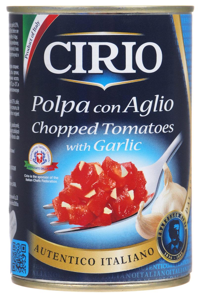Cirio Chopped Tomatoes With Garlic томаты очищенные резаные с чесноком, 400 г51.0030,1Cirio Chopped Tomatoes With Garlic - очищенные и мелко нарезанные на кусочки томаты с добавлением чеснока. Идеально подходят в качестве заправки для макаронных изделий.