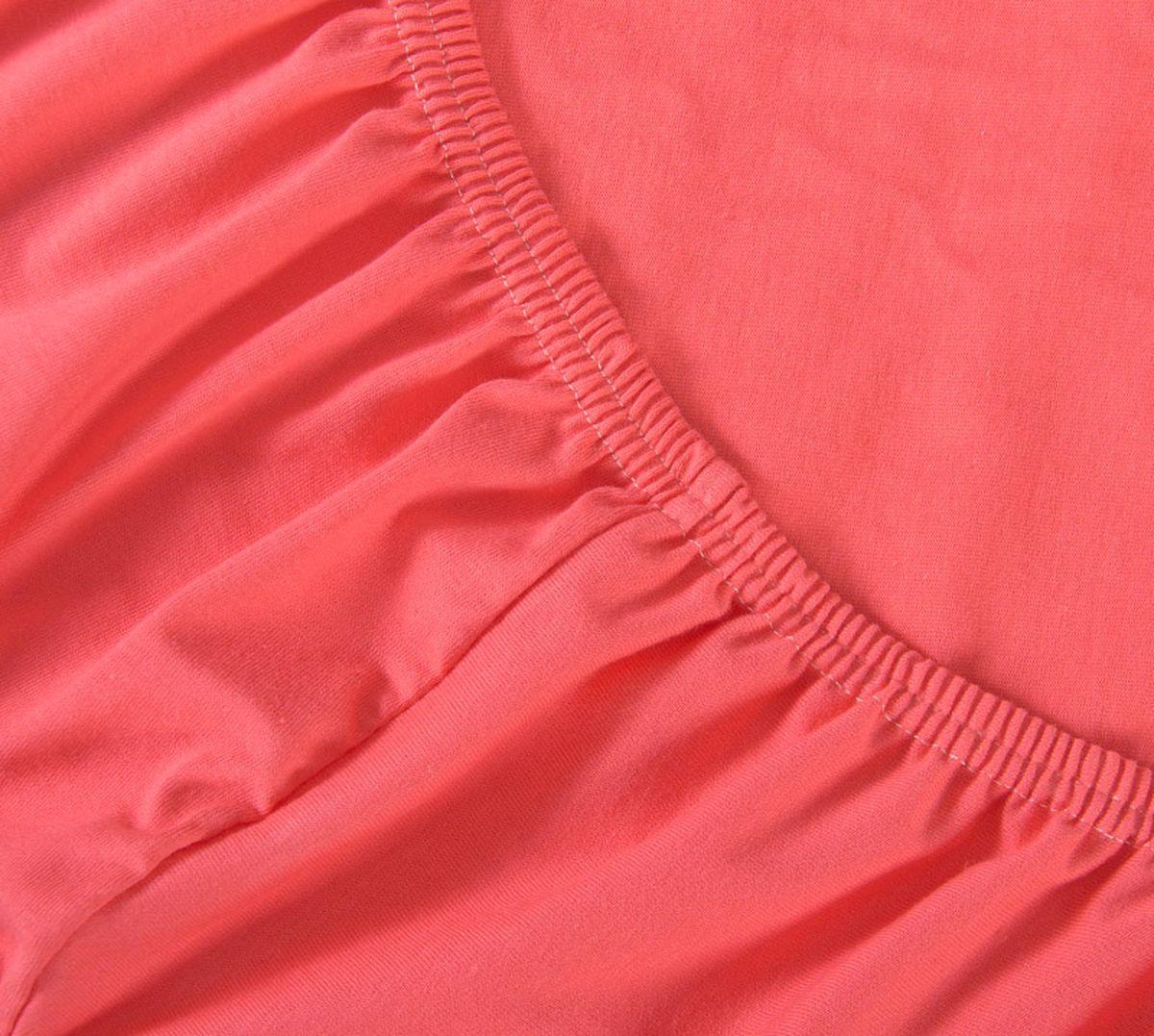 Простыня Текс-Дизайн, на резинке, цвет: коралловый, 160 х 200 х 20 смР013ТПростыня Текс-Дизайн изготовлена из трикотажа высокого качества, состоящего на 100% из хлопка. По всему периметру простыня снабжена резинкой, что обеспечивает комфортный отдых, и избавляет от неприятных ощущений скомкавшейся во время сна изделия. Простыня легко одевается на матрасы высотой до 20 см. Идеально подходит в качестве наматрасника.Трикотаж эластичен и растяжим, практически не мнется и не теряет форму после стирки. И кроме того он очень красиво выглядит и приятен на ощупь.
