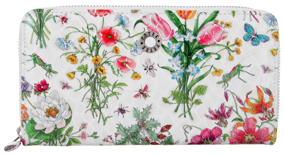 Портмоне женское Petek 1855, цвет: молочный, зеленый, розовый. 397/2.094.00INT-06501Стильное женское портмоне Petek 1855 изготовлено из натуральной лакированной кожи с цветочным принтом. Портмоне закрывается на застежку-молнию.Внутри находятся два отделения для купюр, между которыми расположен карман на застежке-молнии для мелочи, двенадцать кармашков для визиток и пластиковых карт, и два потайных кармана. Портмоне упаковано в фирменную коробку.Такое портмоне станет замечательным подарком человеку, ценящему качественные и практичные вещи.