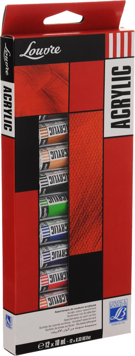 Набор акриловых красок Lefranc & Bourgeois Louvre, 10 мл, 12 шт0775B001Набор Lefranc & Bourgeois Louvre состоит из 12 тюбиков акриловой краски разных цветов. Краски отлично разводятся в воде. Используются для рисования на любой немасляной поверхности: холст, бумага, картон, дерево, ацетатная ткань, материя и другие материалы. Пигмент в связующем имеет высокую прочность, что характерно для этих красок. Связующее, создающее гибкую защитную пленку на поверхности произведения для защиты от кракелюр, исключительно устойчиво к старению и пожелтению от времени. Быстросохнущие краски могут накладываться слоями без риска их взаимопроникновения.