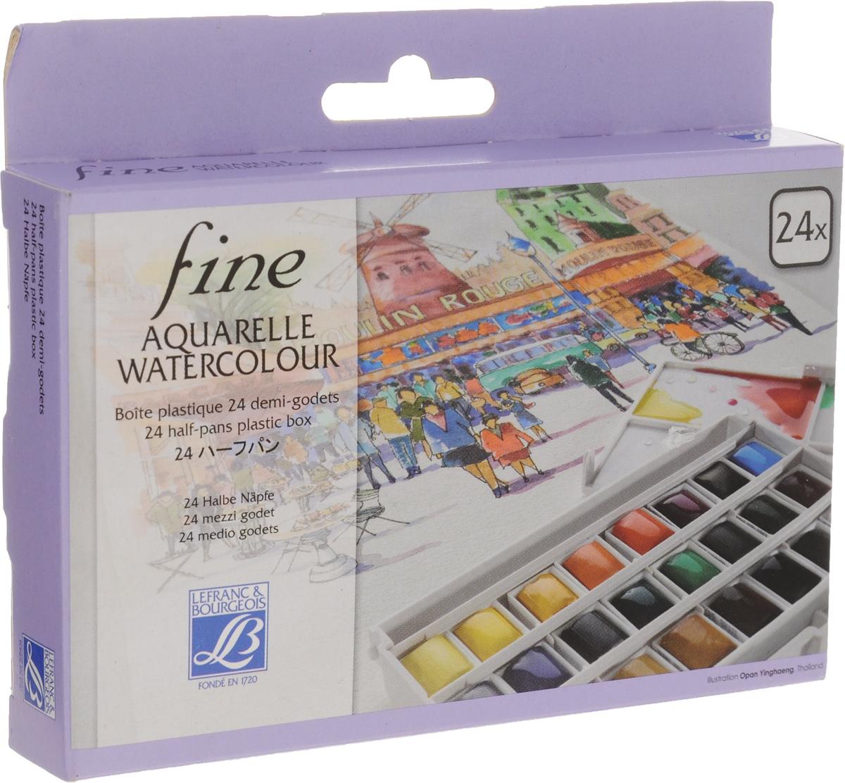 Набор акварельных красок Lefranc & Bourgeois Fine, 24 цветаC13S041944Набор акварельных красок Lefranc & Bourgeois Fine состоит из 24 кюветов разных цветов в пластиковой коробке. Крышка коробки может использоваться как палитра. Данная форма акварели эффективна в работе над небольшими картинами, а также на пленэре при выполнении набросков.