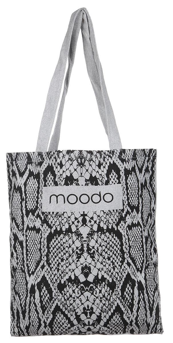 Сумка женская Moodo, цвет: серый. L-TO-2003L-TS-2021_WHITEУниверсальная хлопковая сумка Moodo оформлена изображением логотипа бренда и змеиным принтом.Сумка имеет одно вместительное отделение и оснащена двумя удобными ручками, которые позволят носить изделие, как в руках, так и на плече.Модная сумка идеально подчеркнет ваш неповторимый стиль.