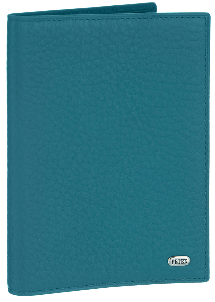 Обложка для паспорта Petek 1855, цвет: бирюзовый. 581.46B.32INT-06501Стильная обложка для паспорта Petek 1855 изготовлена из натуральной кожи с фактурным тиснением и оформлена металлической пластиной с фирменной гравировкой. Изделие поставляется в фирменной коробке. Обложка для паспорта поможет сохранить внешний вид ваших документов и защитить их от повреждений, а также станет стильным аксессуаром.