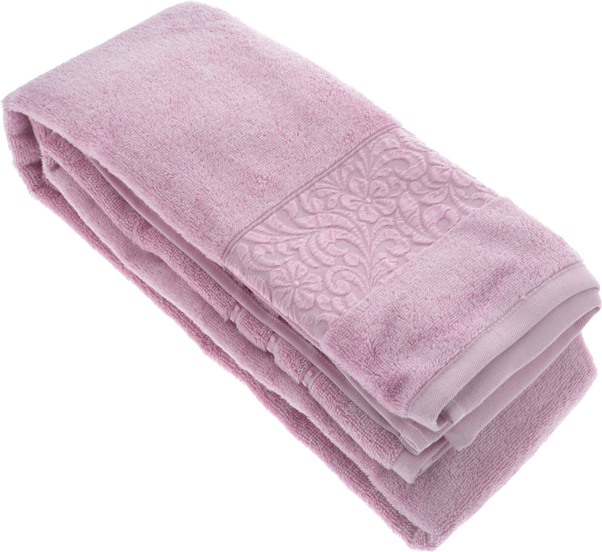 Полотенце бамбуковое Issimo Home Valencia, цвет: светло-пурпурный, 90 x 150 см531-105Полотенце Issimo Home Valencia выполнено из 60% бамбукового волокна и 40% хлопка. Таким полотенцем не нужно вытираться - только коснитесь кожи - и ткань сама все впитает. Такая ткань впитывает в 3 раза лучше, чем хлопок.Несмотря на богатую плотность и высокую петлю полотенца, оно быстро сохнет, остается легким даже при намокании.Бамбуковое полотенце имеет красивый жаккардовый бордюр, выполненный с орнаментом в цвет полотенца. Благородный, классический тон создаст уют и подчеркнет лучшие качества махровой ткани, а сочный, яркий, летний оттенок создаст ощущение праздника и наполнит дом энергией. Красивая, стильная упаковка этого полотенца делает его уже готовым подарком к любому случаю.