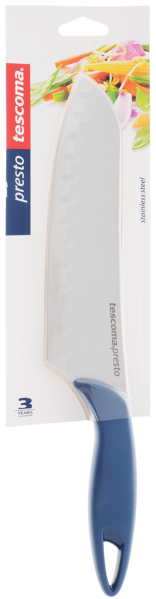 Нож японский Tescoma Presto, длина лезвия 20 смSTO 6522Японский нож Tescoma Presto изготовлен из нержавеющей стали и прочного пластика. Лезвие заточено и сформировано для максимально эффективного использования. Это легкий и многофункциональный нож прекрасно подойдет для резки овощей, сыра и даже мяса. Такой нож станет прекрасным дополнением к коллекции ваших кухонных аксессуаров и не займет много места при хранении. Можно мыть в посудомоечной машине. Общая длина ножа: 31 см.