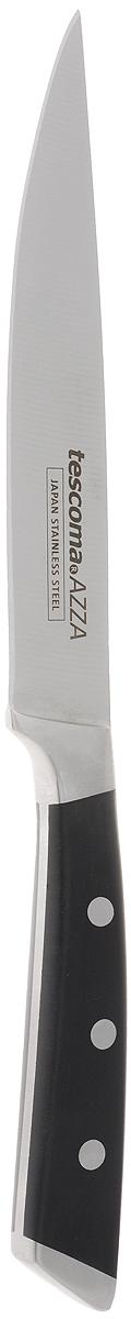 Нож универсальный Tescoma Azza, длина лезвия 13 смПЦ1499МНДУниверсальный нож Tescoma Azza предназначендля нарезки различных продуктов. Лезвие выполнено из высококачественной нержавеющей стали. Эргономичная рукоятка, выполненная из пищевого пластика, не скользит в руках и делает нарезку удобной и безопасной. Благодаря уникальной формуле стали и качеству ее обработки, лезвие имеет высокий показатель твердости, что позволяет ему долго сохранять острую заточку. Нож Tescoma Azza идеально шинкует, нарезает и измельчает продукты. Он займет достойное место среди аксессуаров на вашей кухне. Можно мыть в посудомоечной машине.Длина ножа: 24 см.