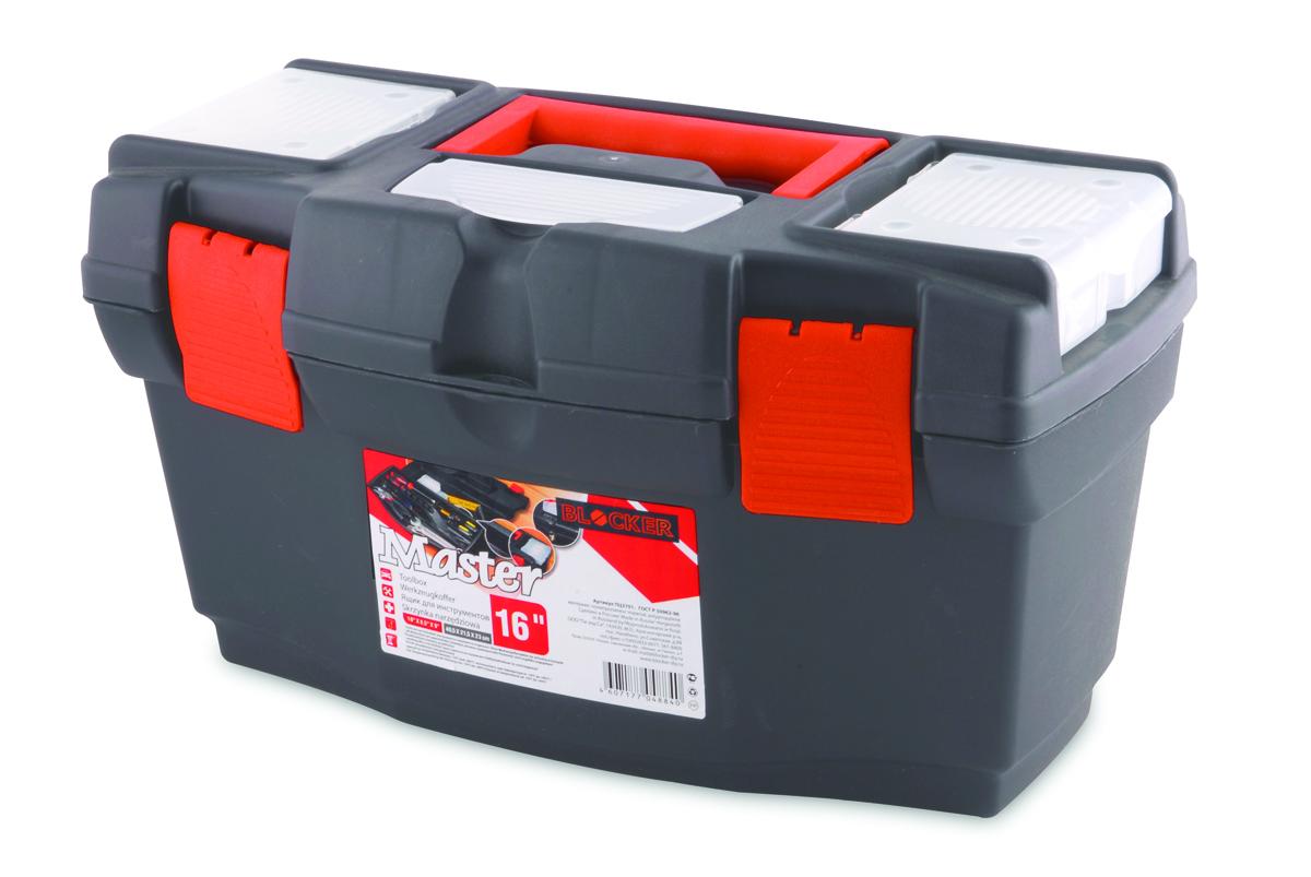 Ящик для инструментов Blocker Master, цвет: серый, оранжевый, 405 х 215 х 230 мм28-H6Ящик Blocker Master предназначен для хранения инструмента и других хозяйственных нужд. Классическая форма, внутренний лоток для эффективной организации хранения. Блоки для мелочей на крышке идеально подходят для размещения мелких скобяных изделий. Надежные замки позволяют безопасно переносить ящик с большой загрузкой. Отверстие для крепления навесного замка позволит защитить инструмент при транспортировке.