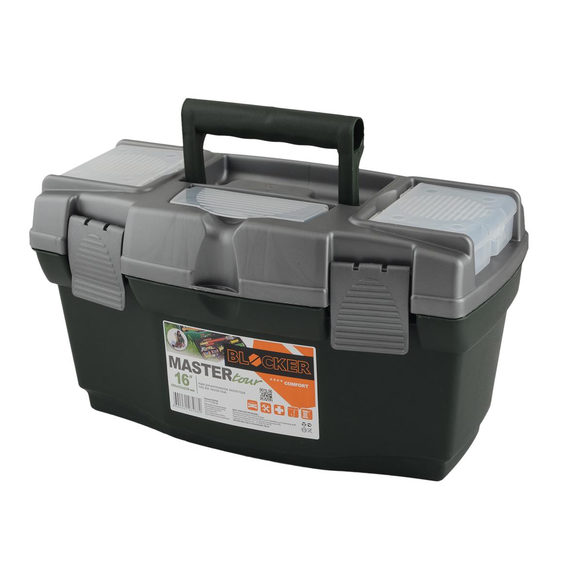Ящик для инструментов Blocker Master Tour, цвет: темно-зеленый, 405 х 215 х 230 мм80621Многофункциональный ящик Blocker Master Tour отлично подходит для хранения небольших рыболовных и охотничьих принадлежностей, может быть использован для переноски мангала, посуды и многих вещей, которые могут понадобиться на отдыхе или в путешествии. Ящик имеет надежные замки и встроенные органайзеры в крышке для размещения мелких деталей.