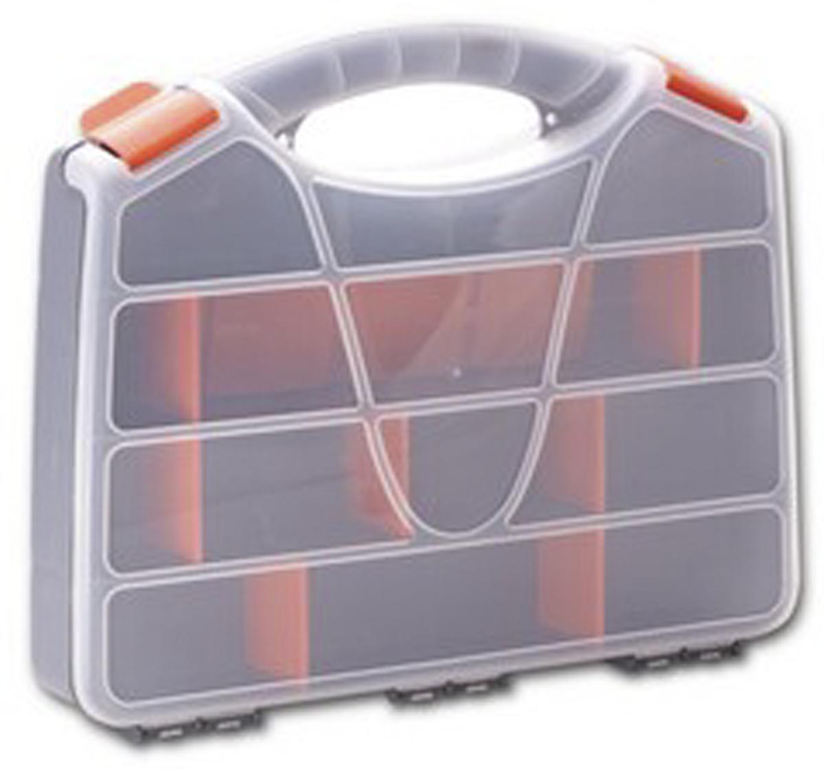 Органайзер для инструментов Blocker Profi, цвет: серый, оранжевый, 32 х 26 х 5,5 см98298130Удобный органайзер Blocker Profi предназначен дляпереноски и хранения инструментов. Изделие выполненоиз высококачественного полипропилена. Прозрачная крышка, небольшой размер ипродуманная эргономика делают хранение любыхмелочей простым и эффективным. Надежные замкипредохраняют от случайного открытия. Съемныеразделители позволяют организовать пространство всоответствии с вашими пожеланиями.