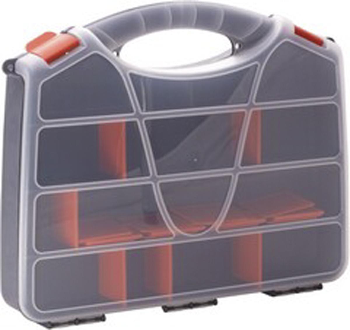 Органайзер для инструментов Blocker Profi, цвет: серый, оранжевый, 44,7 х 35,5 х 7,5 см98295719Удобный органайзер Blocker Profi предназначен дляпереноски и хранения инструментов. Изделие выполненоиз высококачественного полипропилена. Прозрачная крышка, небольшой размер ипродуманная эргономика делают хранение любыхмелочей простым и эффективным. Надежные замкипредохраняют от случайного открытия. Съемныеразделители позволяют организовать пространство всоответствии с вашими пожеланиями.